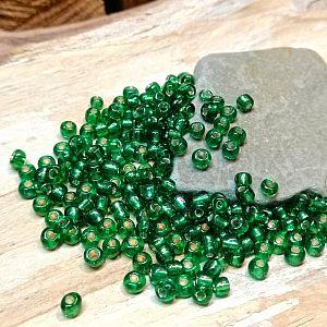 20 g Glasperlen Rocailles dunkelgrün 3-4 mm