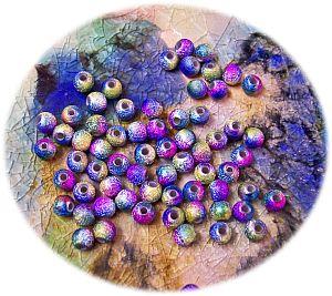 Perlenset 30 schöne Stardust Perlen irisierend Mix 6 mm