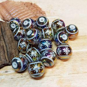 10 edle Glasperlen feuerpoliert mit Muster 10 mm