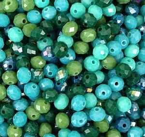 30 Faceted Abacus Glasperlen grüntönig feuerpoliert 6 x 4 mm