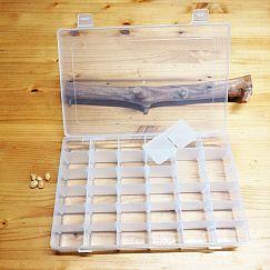 große Perlen Sortierbox Acryl Rechteck 28 x 17 x 4,5 cm semitransparent