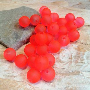 20 Glasperlen gefrostet neonorange10 mm Kugeln