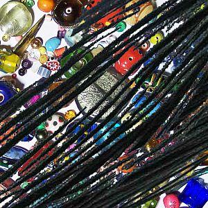 1 Rolle 80 m Perlschnur 1 mm gewachste Baumwolle schwarz