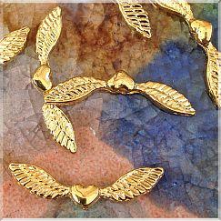 2 Stück Metallperlen Engelflügel gold Herz Flügelperlen