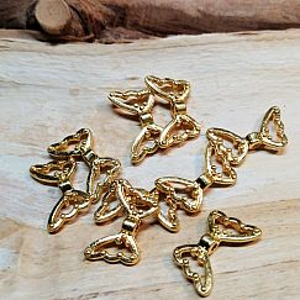 2 Stück Metall Engelflügel gold Flügelperlen 18 mm