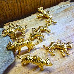 1 Kettenanhänger Leopard 3D goldfarben 25 mm