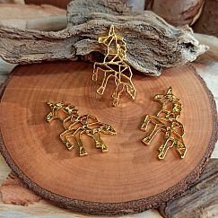 Kettenanhänger Origami Pferd gold 35 mm