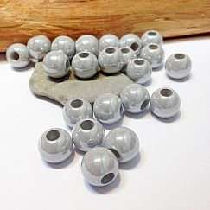 20 Modulperlen acryl Großlochperlen grau 13,5 mm Loch 5 mm