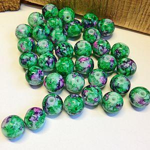Perlenset 20 Glasperlen grün lila Tinteneffekt 10 mm Kugel