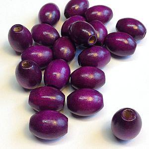 20 große Kinderperlen Holzperlen violett 17 mm Olive
