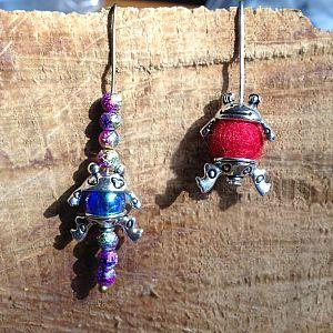 2 Sets Metall Perlenkappen als Froschmotiv für Perlen 8 mm