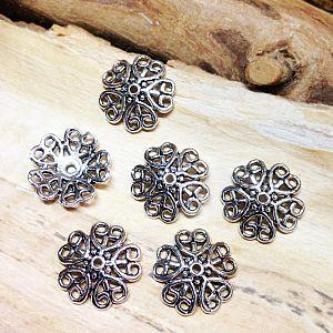 6 große Metall Perlenkappen 18 mm für Engelanhänger