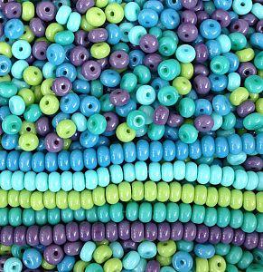 30 Glasperlen opak Rondelle im Set blau - grün 6 mm