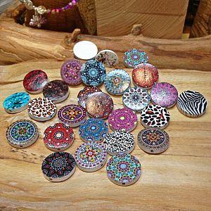 Perlenset 10 große bedruckte Mandalaholzperlen flach 20 mm