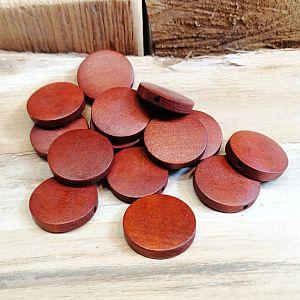 Perlenset 8 schöne große Holzperlen flach rotbraun 23 mm