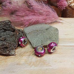 4 Modulperlen pink 15 mm Grosslochperlen Strass Loch 5 mm