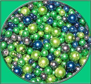 Perlenset 100 Glaswachsperlen blau grün 6 - 10 mm