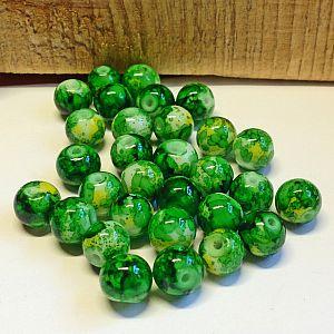 40 Glasperlen Kugelform 8 mm mit Tinteneffekt grün gelb