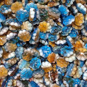 20 böhmische Glasperlen Blüten Muscheln als Mix in türkis grün blau