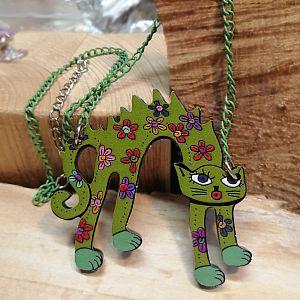 1 Halskette mit Anhänger Katze grün