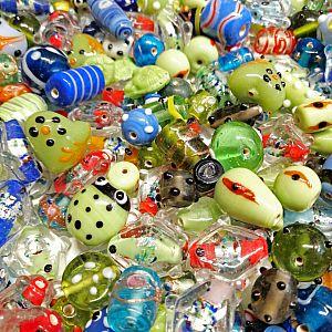 50 g edle Lampwork Designer Glasperlen handmade 10 - 30 mm mit Dottes