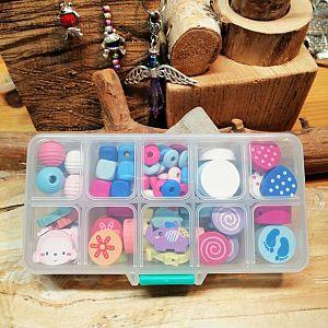 1 tolle Box mit Motivperlen aus Holz Farbmix 9 - 22 mm