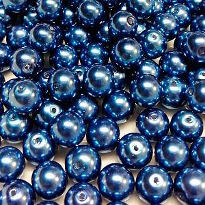 Wachsperlen 40 Glaswachsperlen 8 mm mittelblau