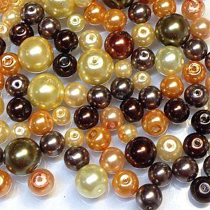 Perlenset 100 Glaswachsperlen Kinderperlen beige braun 6 - 12 mm