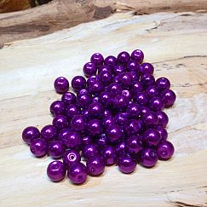 Perlenset 40 Glaswachsperlen 8 mm lila violett