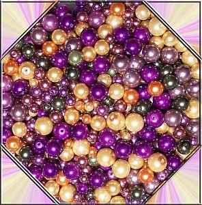Perlenset 100 Glaswachsperlen Kinderperlen lila orange 6 - 12 mm