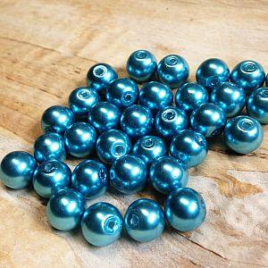 Perlenset 40 Glaswachsperlen 8 mm türkis dunkel