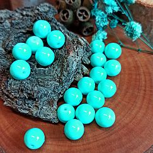 Perlenset 30 Glasperlen 8 mm türkis hell beschichtet glänzend