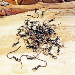 Set mit 20 Ohrhaken kupfer antik 18 mm Fischerhaken