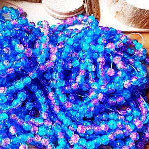 50 Glascrackleperlen 8 mm mit Farbverlauf lila blau