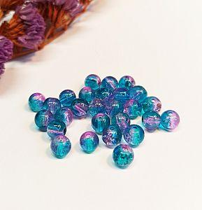 50 Glascrackleperlen 8 mm mit Farbverlauf lila türkis