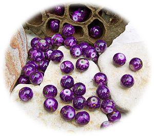 30 Glasperlen draw bench violett Kugelform 8 mm