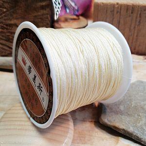 10 m Perlschnur 1 mm gewachstes Polyester weiß beige creme