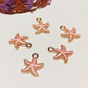 2 Charms Kettenanhänger Ohranhänger Seestern Emaille gold rosa 19 mm