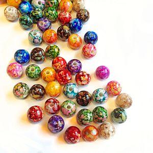 30 mehrfarbig marmorierter Perlenmix 8 mm rainbow