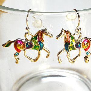1 Set Ohrringe mit Anhänger Pferd silber Emaille