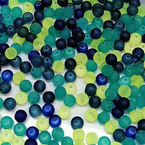 Perlenset 30 Glasperlen gefrostet 6 mm Loch 1 mm
