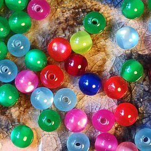 30 Acryl Katzenaugenperlen Perlenmischung Farbmix 8 mm