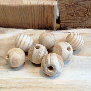 10 Holzperlen Naturholzperlen hell unbehandelt 20 mm