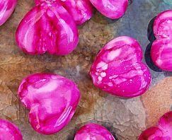 Acrylperlen marmoriert 2 Herzperlen pink 20 mm Kinderperlen