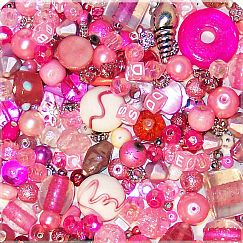100 Perlenset rosa Pink Materialmix 6 - 25 mm