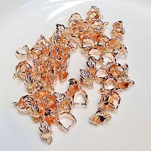 4 Metall Collierschlaufen Anhängerschlaufen für Kettenanhänger rosegold