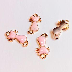 2 Kettenanhänger Ohranhänger Katze Emaille rosa gold 22 x 11 mm