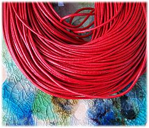 1 m Lederschnur Lederband 2 mm rot Lederschnüre