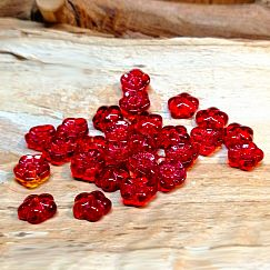 10 Glasperlen Blumenform 8 mm rot