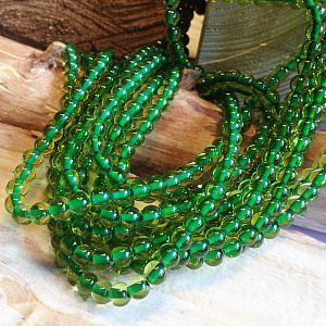 50 Glasperlen Kugelform 6 mm mit grüner mit Innenperle